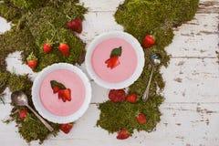 新鲜的桃红色草莓汤 库存照片