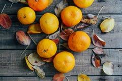 新鲜的橘子结果实与在木桌上的叶子 成熟 免版税库存图片