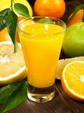 新鲜的橙汁过去用果子 库存照片