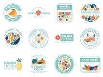 新鲜的水果和蔬菜徽章 有机食品、天然产品和夏天果子 菜徽章传染媒介例证 向量例证