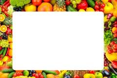 新鲜的水果和蔬菜框架  有te的自由空间 免版税库存照片