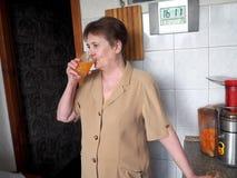 新鲜的汁液生产和品尝  库存照片