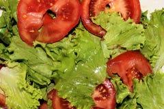 新鲜的沙拉用在板材的蕃茄 库存图片