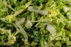 新鲜的沙拉用皱叶甘蓝和葱 图库摄影