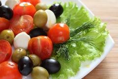 新鲜的沙拉用蕃茄、无盐干酪和橄榄 库存照片