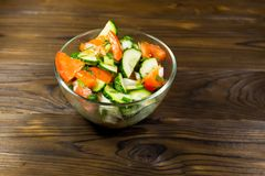 新鲜的沙拉用蕃茄、黄瓜、葱、荷兰芹和莳萝 库存图片