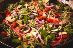 新鲜的沙拉用蕃茄和葱 库存图片