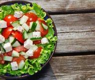 新鲜的沙拉用蕃茄和黄瓜。 免版税图库摄影