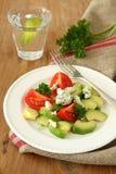 新鲜的沙拉用鲕梨、蕃茄和乳酪 免版税库存图片