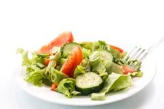 新鲜的沙拉用黄瓜和蕃茄 免版税库存图片