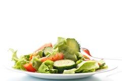 新鲜的沙拉用黄瓜和蕃茄 库存照片
