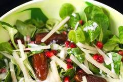 新鲜的沙拉用莴苣、日期、石榴种子和乳酪 库存图片