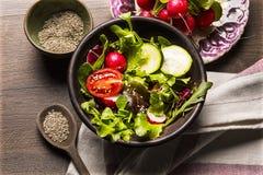 新鲜的沙拉蕃茄和混杂的绿色芝麻菜, mesclun, mache 免版税库存图片