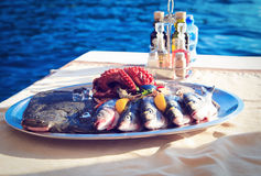 新鲜的海鲜板材 免版税库存图片