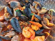 新鲜的海鲜蛤蜊、淡菜和大虾 免版税库存图片