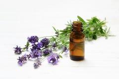 新鲜的淡紫色花和根本草本油在一块棕色玻璃 免版税库存照片