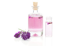 新鲜的淡紫色开花与自然手工制造熏衣草油 库存图片