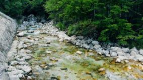 新鲜的清楚的水从在石头下的春天流动 影视素材