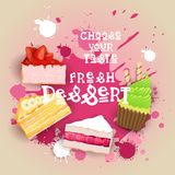 新鲜的点心设置了横幅五颜六色的蛋糕甜美好的可口食物商标 向量例证