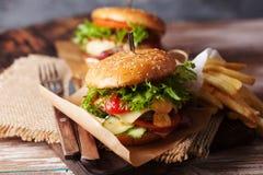 新鲜的烤牛肉汉堡和炸薯条 图库摄影