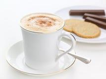 新鲜的热奶咖啡 库存照片