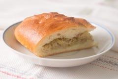 新鲜的热的俄国饼用圆白菜和肉 在pl的切的饼 库存图片