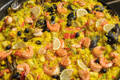 新鲜的煮熟的paela 免版税库存照片