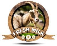 新鲜的牛奶-与山羊的木象 免版税库存照片