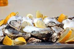 新鲜的牡蛎用说谎在盛肉盘和板材的柠檬作为纤巧 免版税库存图片