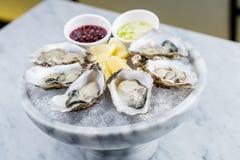 新鲜的牡蛎盛肉盘用调味汁和柠檬 免版税库存照片