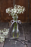 新鲜的狂放的在金属螺盖玻璃瓶的草甸白花 免版税库存图片