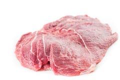 从新鲜的猪肉生肉的切的牛排 免版税库存图片