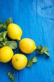 新鲜的生物柠檬用在被绘的木backgroun的薄荷叶草本 免版税库存照片