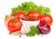 新鲜的番茄酱集合蔬菜 图库摄影