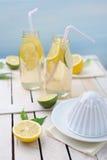 新鲜的石灰和柠檬、剥削者和两杯在桌上的柠檬水 图库摄影