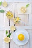 新鲜的石灰和柠檬、剥削者和两杯在桌上的柠檬水 免版税库存照片