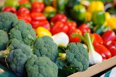新鲜的硬花甘蓝和辣椒粉在农夫农业市场上 图库摄影