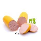 新鲜的碎肝制成的红肠 库存图片
