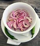 新鲜的红洋葱沙拉用辣椒 免版税库存图片