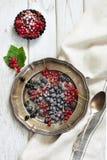新鲜的红色和黑醋栗,黑树莓装饰糖粉末,分支在盛肉盘的红浆果在木板 库存照片