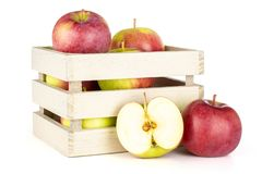 新鲜的红色苹果詹姆斯在白色追悼隔绝 免版税库存图片