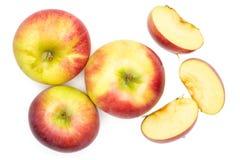 新鲜的红色苹果詹姆斯在白色追悼隔绝 库存照片