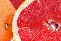 新鲜的红色葡萄柚切特写镜头 库存图片