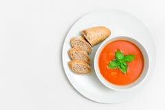 新鲜的蕃茄汤用小面包和蓬蒿在一块板材生叶有纸被构造的背景 库存图片