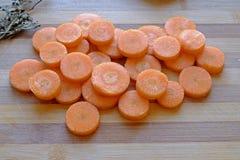新鲜的红萝卜切风景顶面宽 库存图片