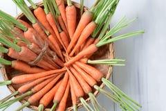 新鲜的红萝卜,在篮子的嫩胡萝卜在白色木背景 库存图片