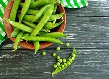 新鲜的绿色种子盘黑木背景的一个毛巾健康收获成份夏天五谷营养素食主义者 免版税库存照片