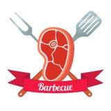 新鲜的肉标签 猪肉,火腿,烤肉叉子,小铲 平的样式 库存照片