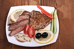 新鲜的肉里脊肉白色包装 库存图片