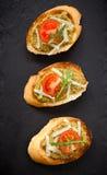 新鲜的自创开胃小菜Bruschetta 免版税库存图片